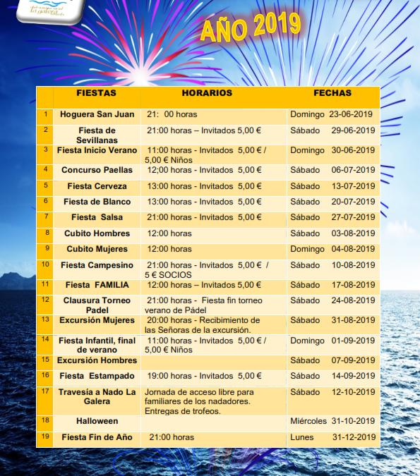 Calendario de fiestas 2019